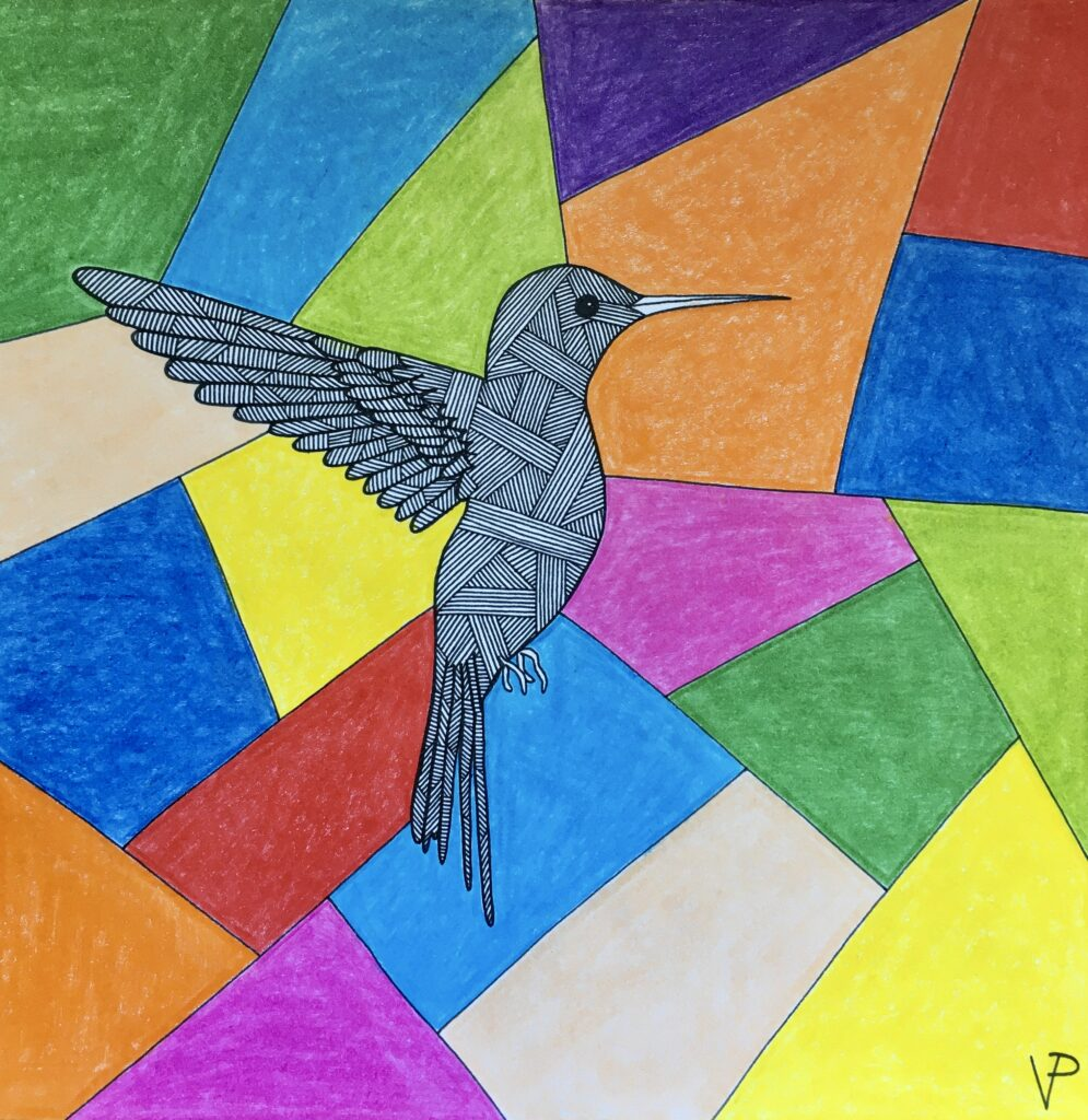 Hummingbird on a colorful background