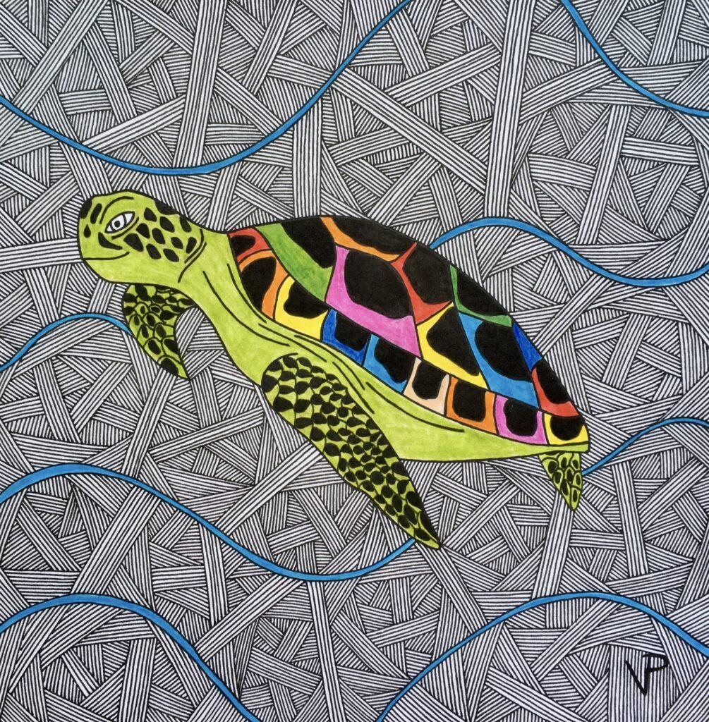 Sea turtle swimming in the sea illustration